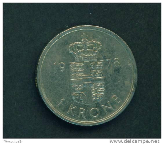 DENMARK  -  1978  1 Krone  Circulated  As Scan - Denmark
