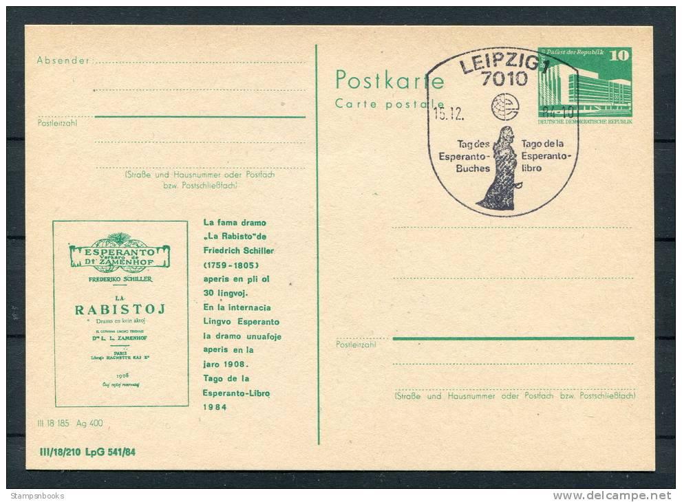 1984 DDR East Germany Leipzig Esperanto Stationery Card - Esperanto