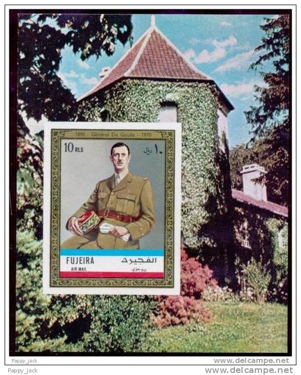Fujeira  General De Gaulle On Souvenir Mini Sheet  IMPERF 1970 MNH - De Gaulle (General)