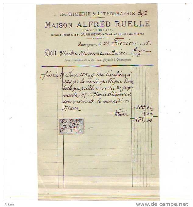 Quaregnon - 1925 - Maison Alfred Ruelle - Imprimerie & Lithographie - Imprimerie & Papeterie