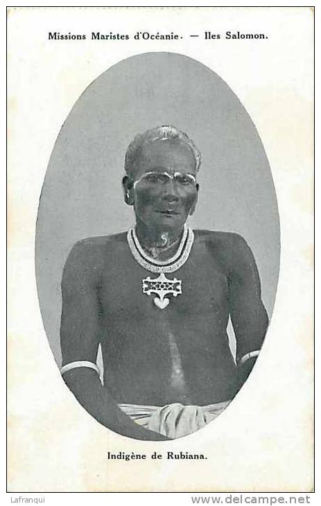 Oceanie- Ref 47- Missions Maristes D Oceanie-  Iles Salomon - Indigene De Rubiana  - Carte Bon Etat - - Salomon