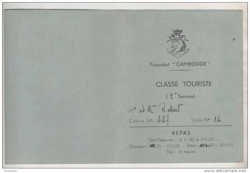 "DOCUMENT - PAQUEBOT ""CAMBODGE"" - CARTE REPAS - CLASSE TOURISTE - Boats"