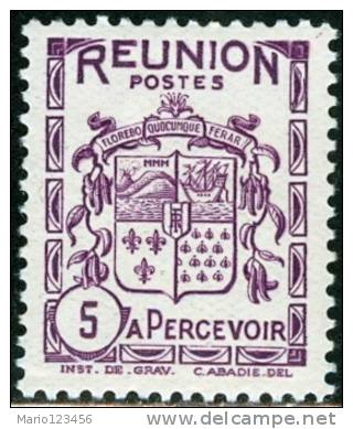 REUNION, COLONIA FRANCESE, FRENCH COLONY, STEMMI, COAT OF ARMS, 1933, NUOVO (MLH*), Scott J16, YT T16, Michel P16 - Unused Stamps