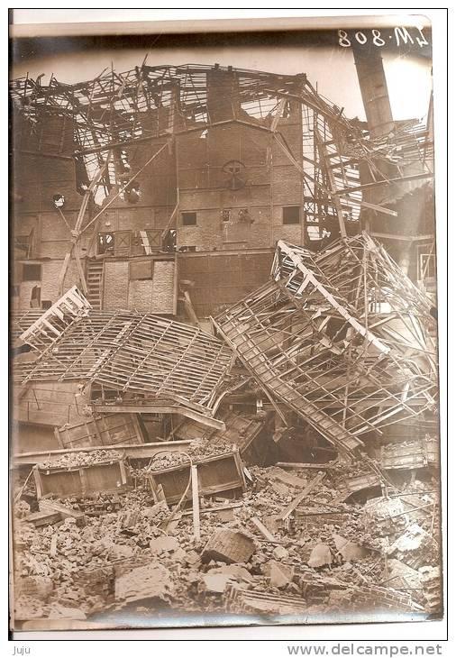 Photo Originale (17x13) Des Ruines De La Grande Guerre, Mines D´Aniche Lavoir De Somain, Vue  De L´appareil De Lavage - Fotografia