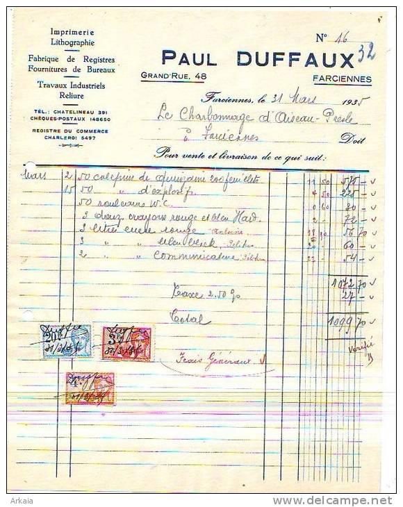 Farciennes - 1935 - Paul Duffaux - Fabrique De Registres - Fournitures De Bureaux - Travaux - Imprimerie & Papeterie