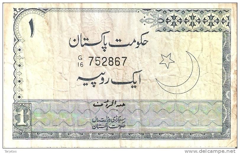 BILLETE DE PAKISTAN DE 1 RUPIA (BANK NOTE) - Pakistán