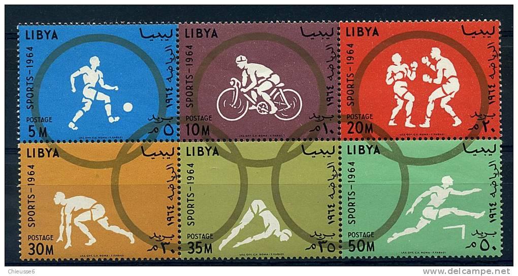Libye ** N° 246 à 251 Formant Bloc - J.O. ( Foot, Cyclisme, Boxe, Course, Plongeon, Haies) - Libya