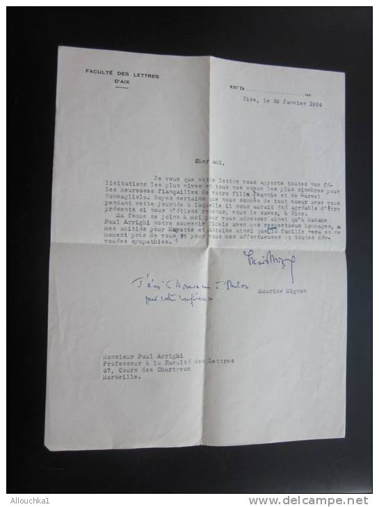 Faculté Lettres D'Aix Nice 29/1/ 1954 Lettre Félicitations Pr Heureuses Fiançailles De Votre Fille Jeannie Corse Corsica - Fiançailles