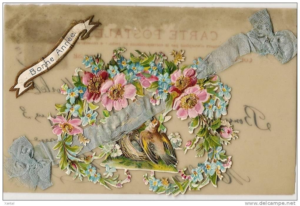 Bonne Année - Oiseaux Et Guirlandes De Fleurs - Carte Celluloïd Chromo & Ajoutis Ruban - Ecrite & Timbrée 1907 - Nouvel An