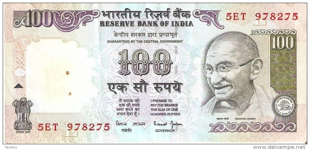 BILLETE DE LA INDIA DE 100 RUPIAS   GHANDI  (BANKNOTE) - India