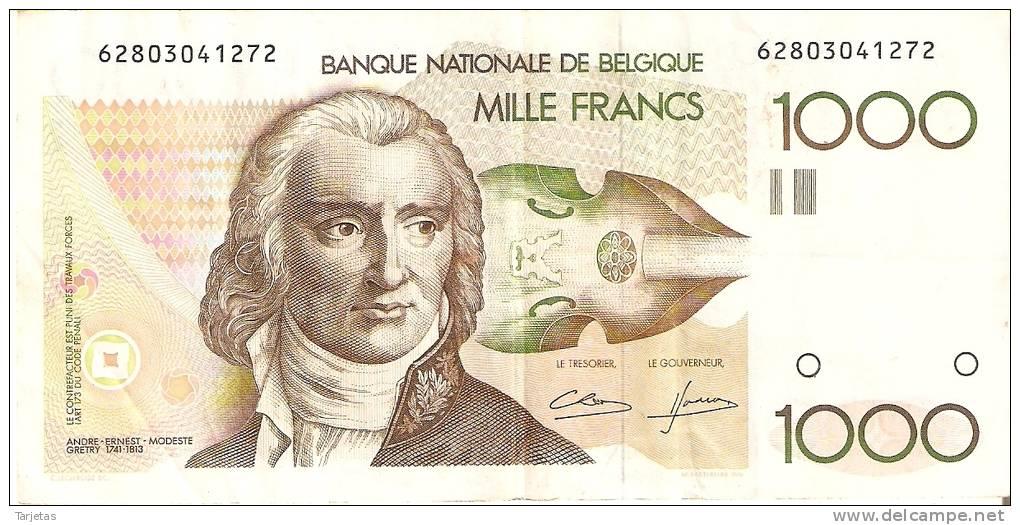 BILLETE DE BELGICA DE 1000 FRANCOS DEL AÑO 1995  (BANK NOTE) P-144 FIRMA DIFICIL Y MUY RARO - 1000 Francos