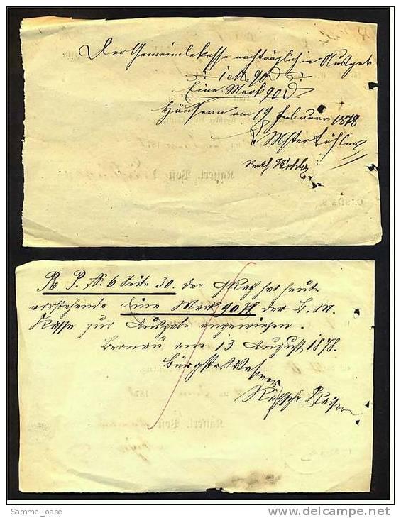 2 Original Post-Quittungen Für Zeitungen - 1876 + 1878  ,  Kaiserl. Post - Duitsland