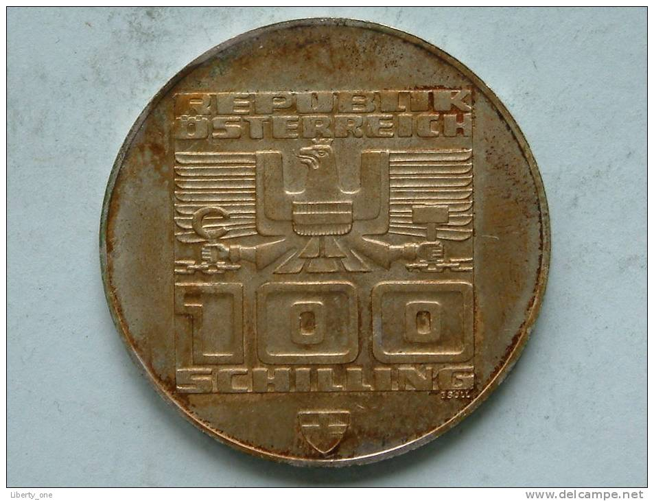 1976 Olympische Winterspiele Innsbruck - 100 Schilling / KM 2929 ( Uncleaned Coin / For Grade, Please See Photo ) !! - Autriche