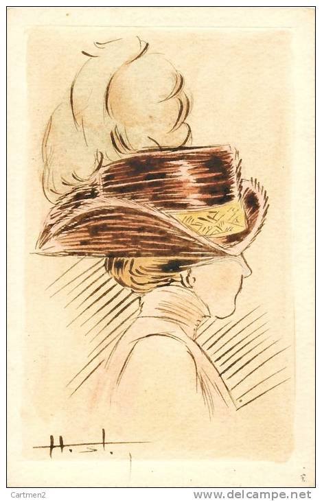 belle cpa femme au chapeau eau forte dessin illustrateur ph lecluse editeur. Black Bedroom Furniture Sets. Home Design Ideas
