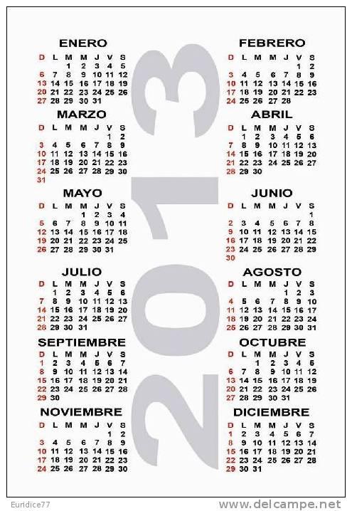 Calendar Pocket 2013 - Hollywood Legends (collection Of 16 Differents) - Calendarios
