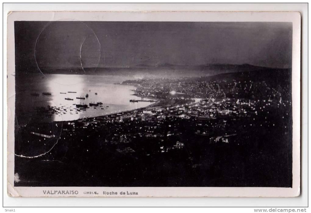 AMERICA CHILE VALPARAISO MOON NIGHT OLD POSTCARD 1937. - Chile
