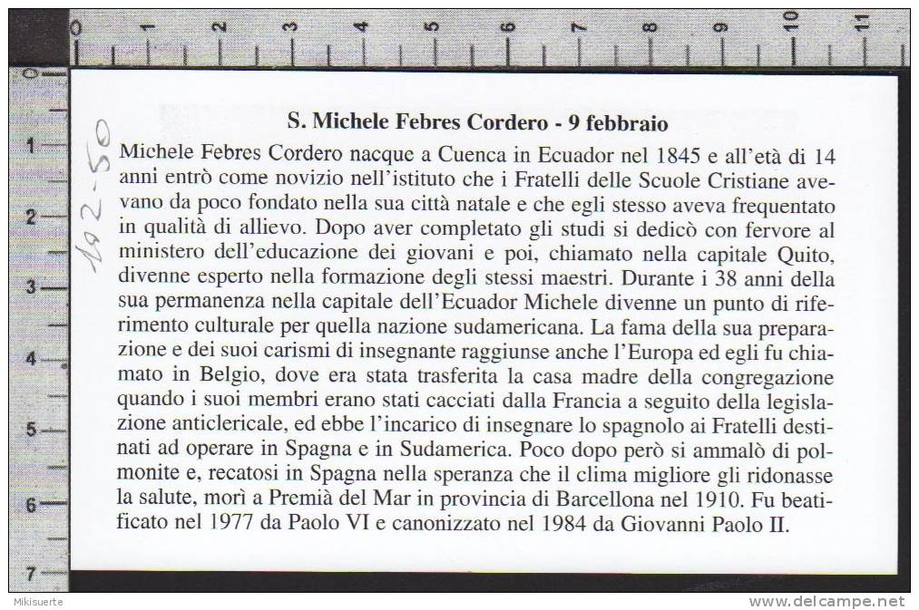 Xsa-10250 URNA DI S. San MICHELE FEBRES CORDERO LASALLIANO CUENCA ECUADOR Santino Holy Card - Religion & Esotericism