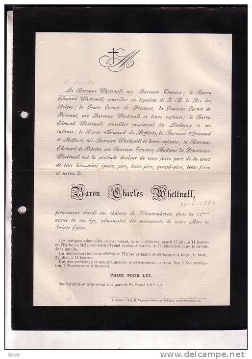 NIEUWERKERKEN MELVEREN NIEUWENHOVEN Baron Charles WHETTNALL 1811-1882 Doodsbrief Faire-part Mortuaire - Décès