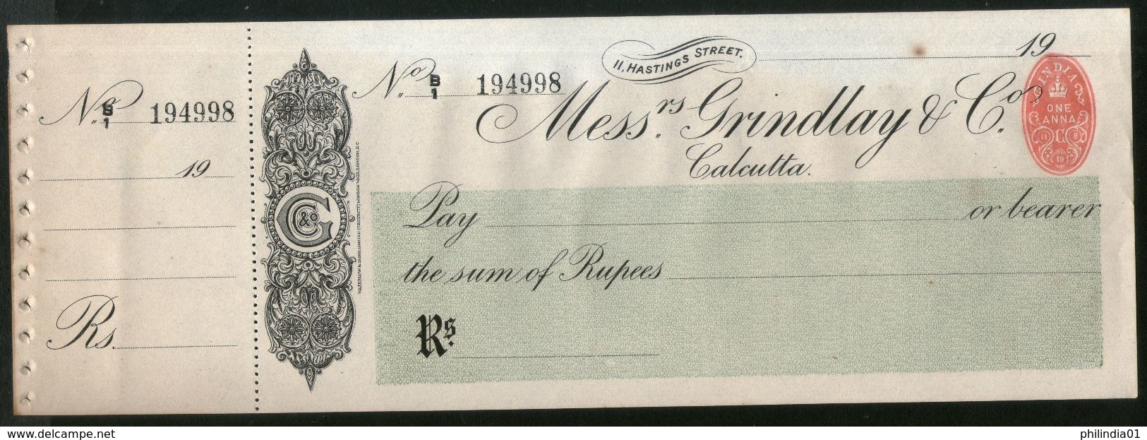 India Grindlay & Co. Calcutta Bank Cheque Form Blank With Counterfoil+ 1An Revenue RARE Inde Indien # 15181A - Bank & Insurance