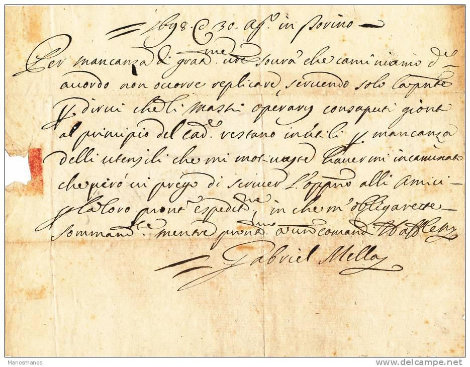 235DT -  Lettre Précurseur TORINO 1698 Vers BRUXELLES - RARE Marque D' Entrée En France DE LYON - Marcophilie (Lettres)