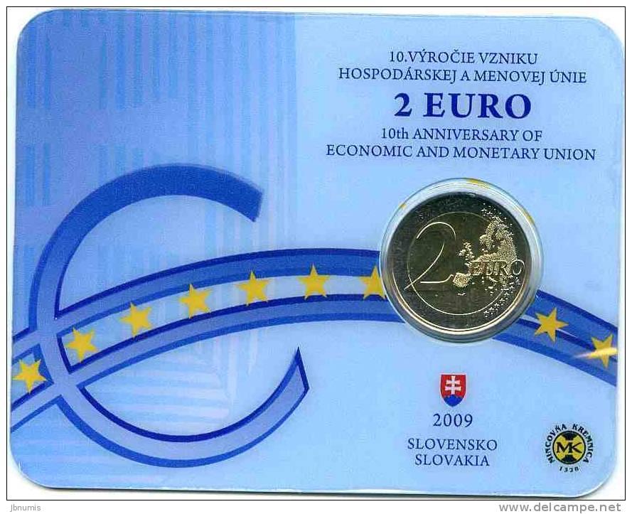 Slovaquie Slovakia 2 Euro 2009 Coin Card Officiel BU 10 Ans De L´Euro - Slovaquie