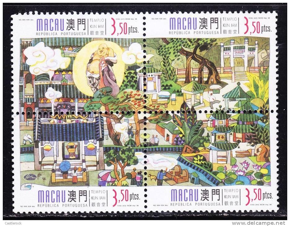 O) 1998 MACAU-CHINA,TEMPLES, SET FOR 4,MNH. - 1999-... Chinese Admnistrative Region