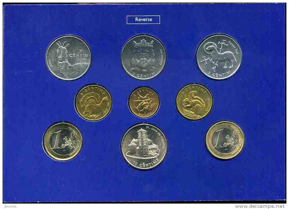 Andorre Andorra Coffret Officiel BU 1 à 10 Centims 2002 + 1 Euro France Et Espagne - Andorra