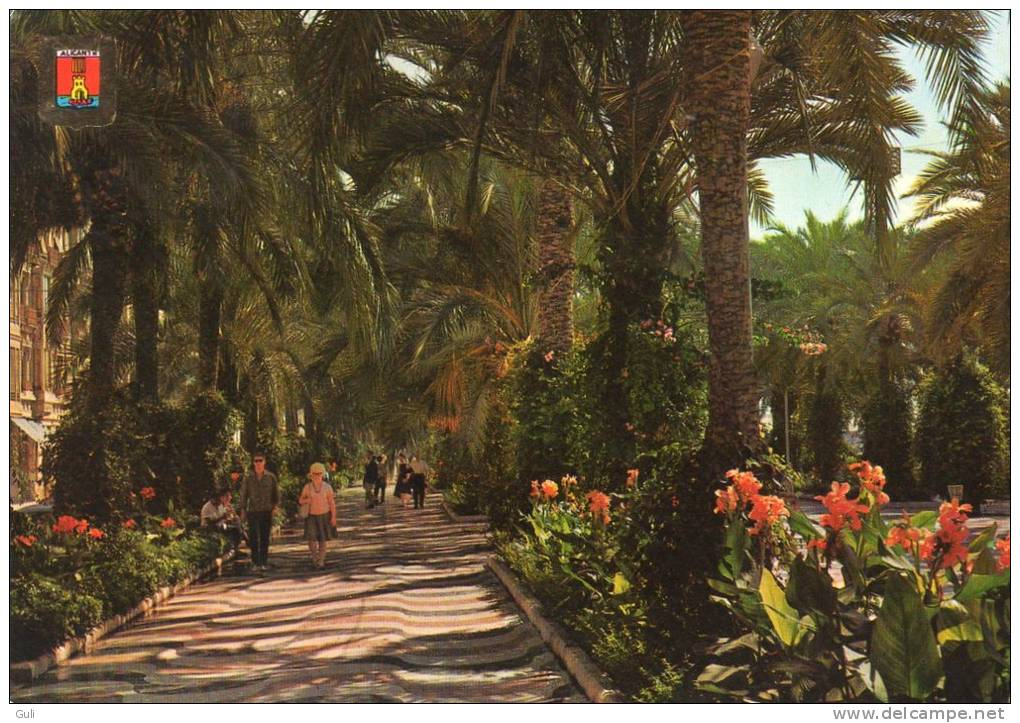 Espagne ALICANTE Esplanade D´Espagne Jardins Esplanada (philatélie Timbre Stamp Correos ESPANA Fernan Caballero 8 Pta) - Alicante