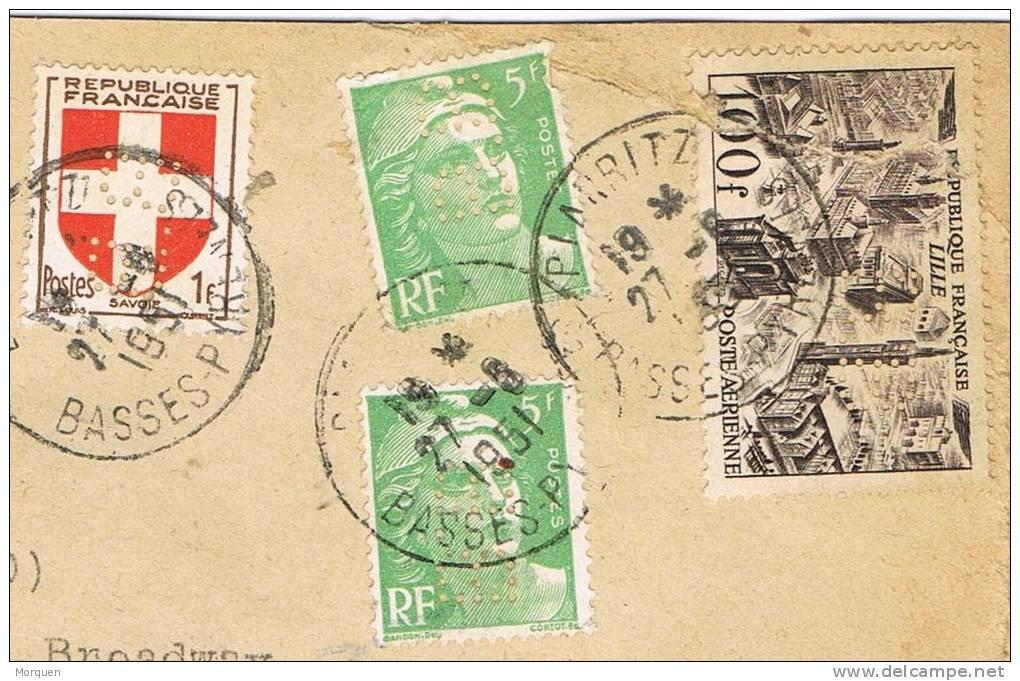 0347. Carta Aerea Certificada BIARRITZ (Basses Pyrenées) Francia 1951. Perfin B.B. - France