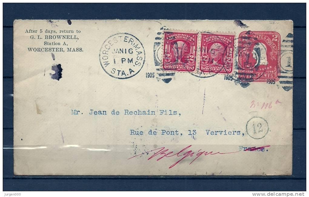 Brief Van Worcester Mass Naar Verviers (Belgium) 16/01/1905 (GA6833) - Autres - Amérique