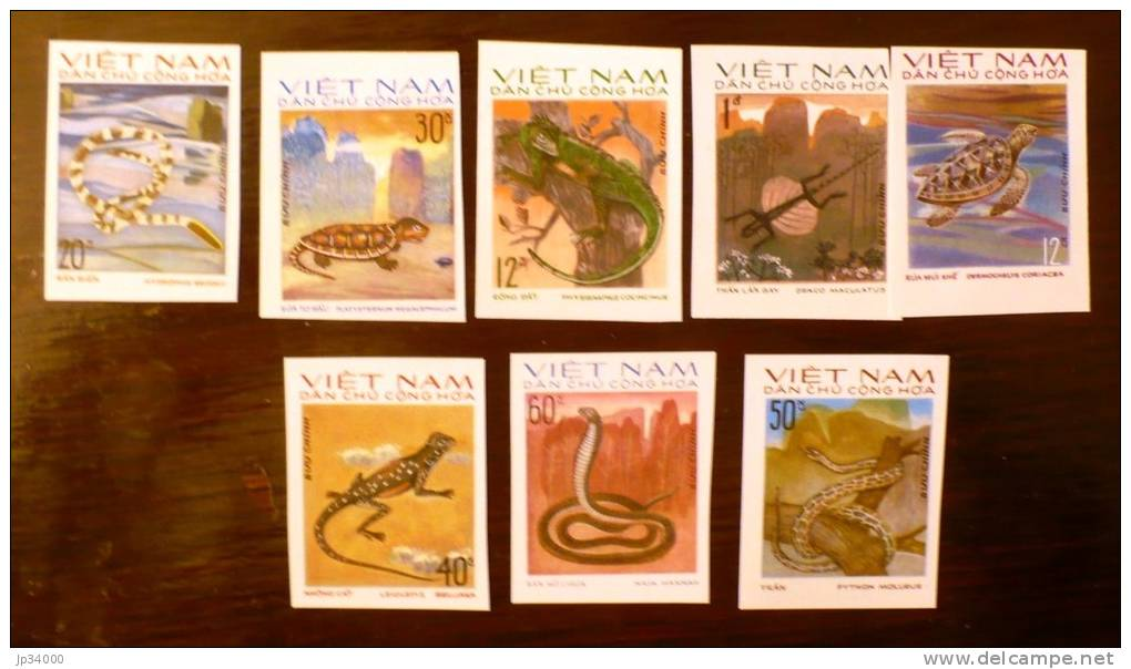 VIETNAM NORD , Reptiles, Tortue Turtle (Yvert N° 875/82) NON DENTELE Neuf Sans Charniere. MNH IMPERFORATE - Reptiles & Batraciens