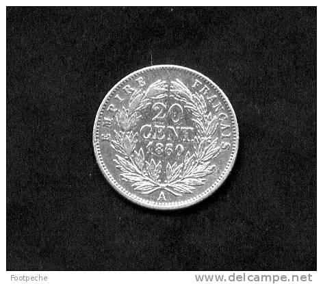 FRANCE   20 CENTIMES  ARGENT  NAPOLEON III  TETE NUE  1860 A     Gadoury N° 305   Lot N° 290 - E. 20 Centimes