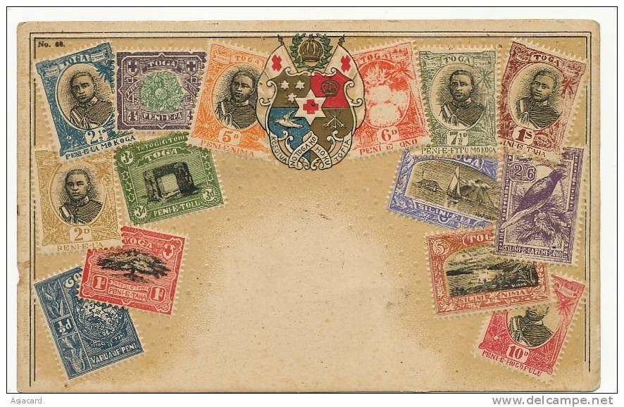 Tonga Toga Stamp Card Embossed Carte Philatelique Gaufrée Ottmar Zieher No 68 - Tonga