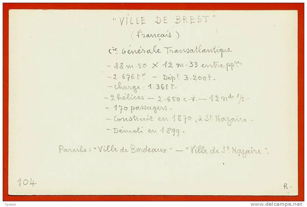 PHOTO Documentation - Bateau VILLE De BREST - Paquebot C. G. T. Compagnie Générale Transatlantique Ship Boat - Bateaux