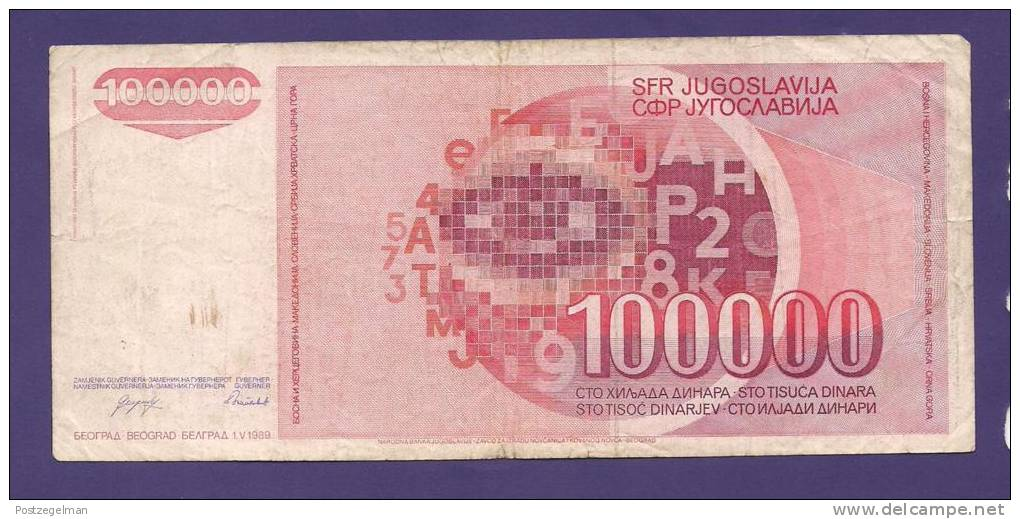 YUGOSLAVIA 1989,  Banknote , USED FINE, 100.000 Dinara, - Yugoslavia