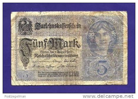 GERMANY 1917, Banknote,  USED VG. 5 Mark Km56 - 5 Mark