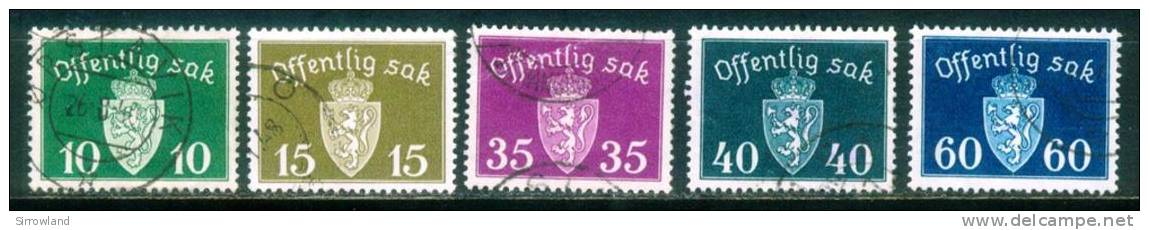 Norwegen  1937  Dienstmarken - Wappen Kl. Format  (5 Gest. (used))  Mi: 24-25, 29-31 (2,90 EUR) - Service