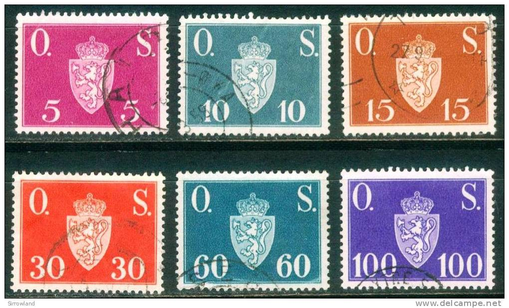 Norwegen  1951  Dienstmarken - Inschrift O.S.  (6 Gest. (used))  Mi: 61-64, 66-67 (2,00 EUR) - Service