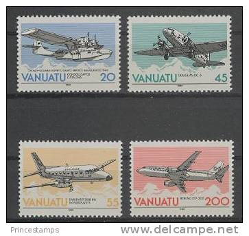 Vanuatu (1989)  Yv. 826/29   /  Airplane - Avion - Avio - Plane - Flights - Airplanes