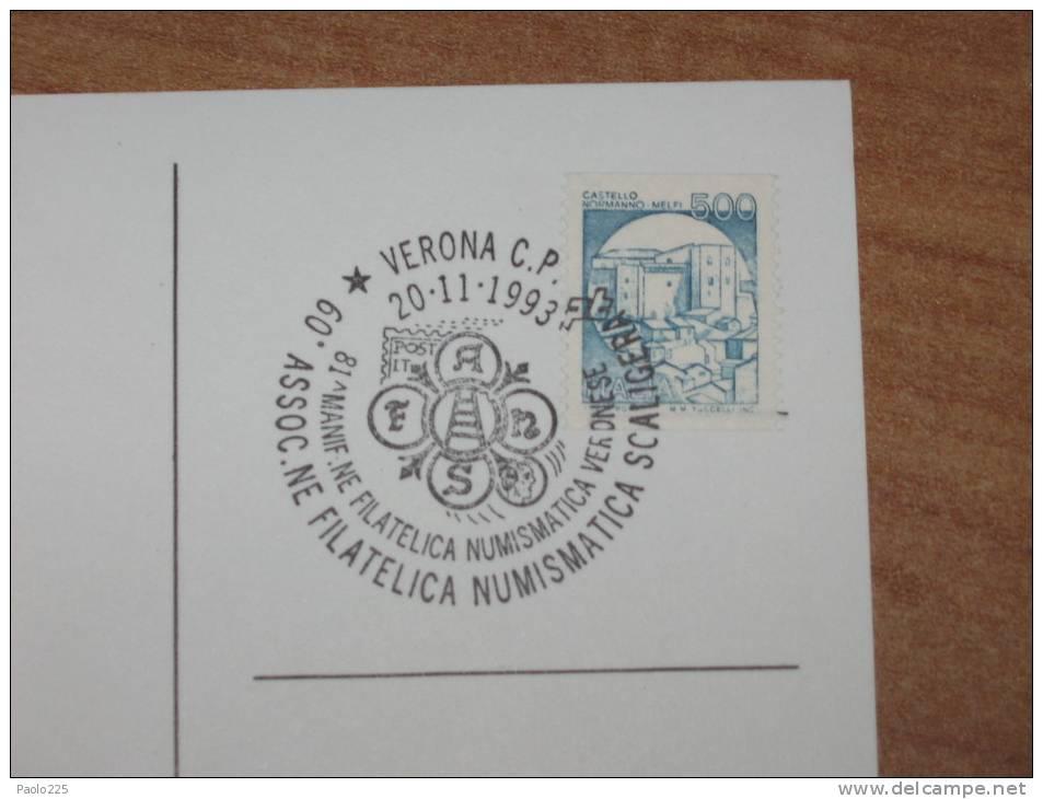VERONA FIERA  20.11.1993 95° MANIFESTAZIONE FILATELICA SCALIGERA  ANNULLO SPECIALE - MARCOFILIA - Verona