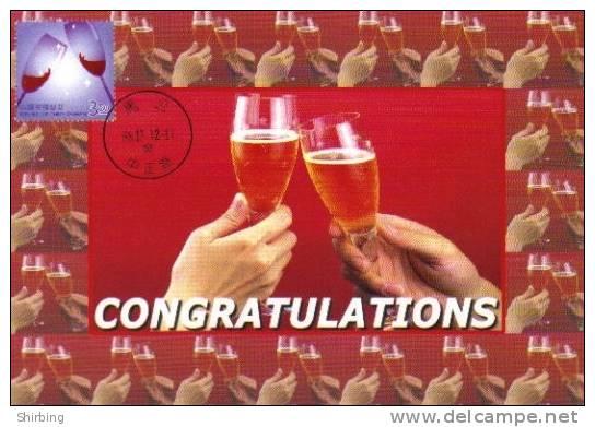 13a: Taiwan Celebration Congratulation Toasting Drink Wine Cheers Maximum Card Maxicard MC - Fêtes