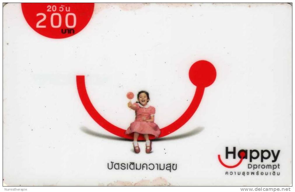 Télécarte D Prompt 200 Baht : 1 Fille Happy - Thaïlande