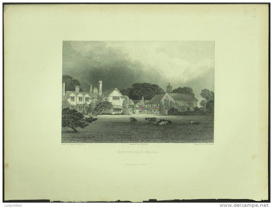 """A C1840 Print Of """"Smithills Hall (Bolton)"""" By 'J H Kernot'. - Prints & Engravings"""