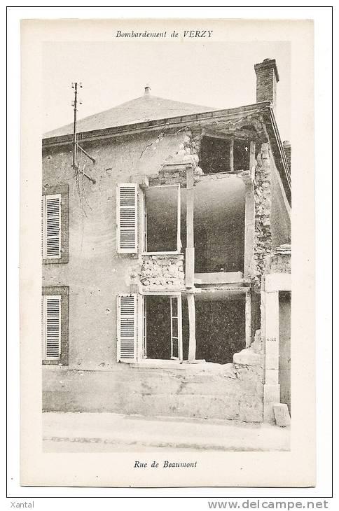 VERZY - Bombardement - Ruines De Maison - Rue De Beaumont - Carte Vierge+++ - Verzy