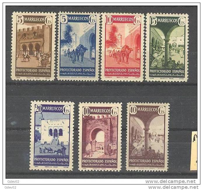 MA234-L2612TARO. Marruecos .Maroc. Marocco.MARRUECOS  ESPAÑOL TIPOS DIVERSOS 1941.(Ed.234/40*) Con    Charnela.LUJO - Arquitectura