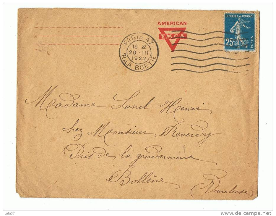 Enveloppe  Lettre   Avec Tampon  Rouge    1922    Tampon Paris _bollène - Other