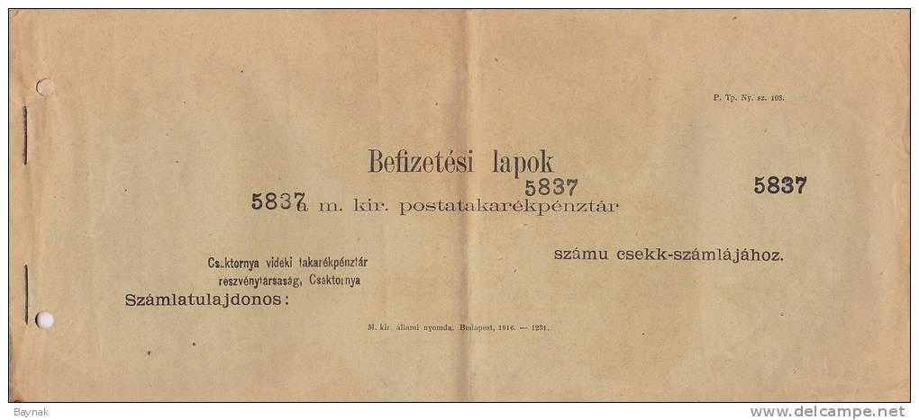 CHECK, BANK CASH CERTIFICATE,  -  ELISMERVENY  -  HUNGARY, CROATIA, CSAKTORNYA, CAKOVEC  -  1913 - Österreich