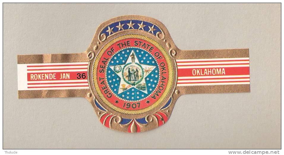 Bagues De Cigares-Tabac-Rokende Jan- Great Seal Of  The State Of Oklahoma-1907- (USA)-N°36-Grand Format - Bauchbinden (Zigarrenringe)