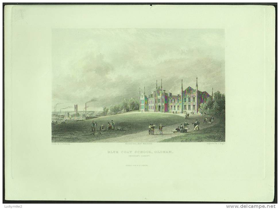 """A C1850 Engraving Of The """"Blue Coat School, Oldham"""" By 'J Tingle'. - Prints & Engravings"""