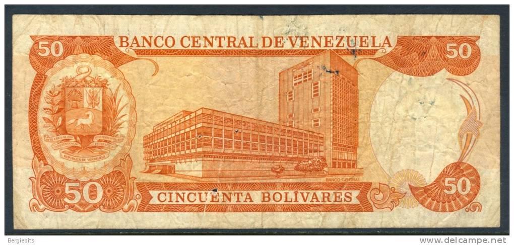 1985 Venezuela 50 Bolivares Banknote In Circulated Condition, Slight Tear On Bottom - Venezuela